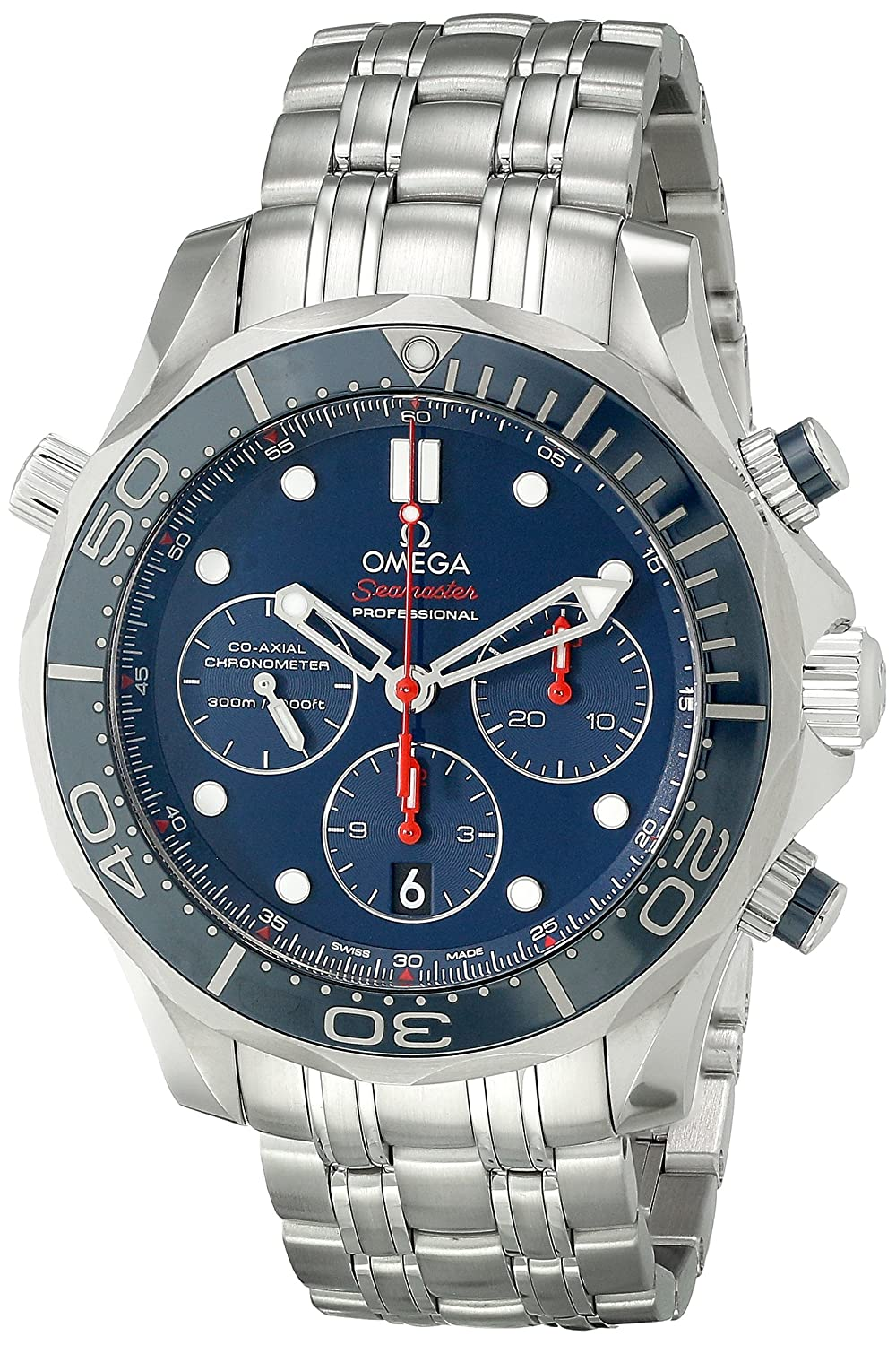 4230bc53b82e Amazon.com  Omega Men s 21230445003001 Diver 300 M Co-Axial Chronograph  Sliver Watch  Omega  Watches