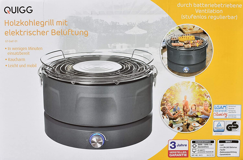 Beste Holzkohlegrill Hersteller : Quigg holzkohlegrill mit elektrischer belüftung kompaktgrill
