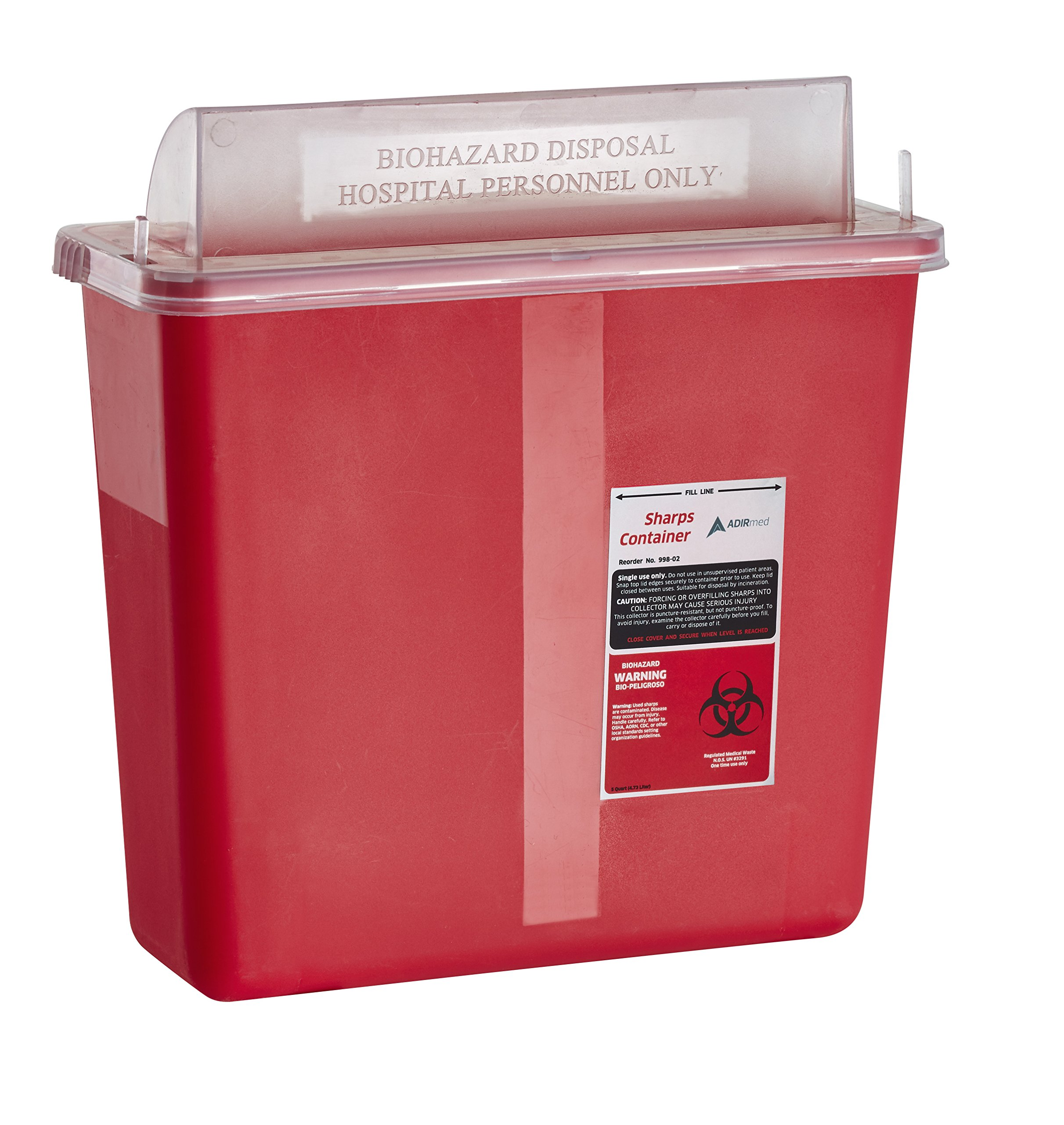 AdirMed Sharps & Needle Biohazard Disposal Container - 5 Quart - Mailbox Style Horizontal Lid - 1 Pack by Adir Med (Image #1)