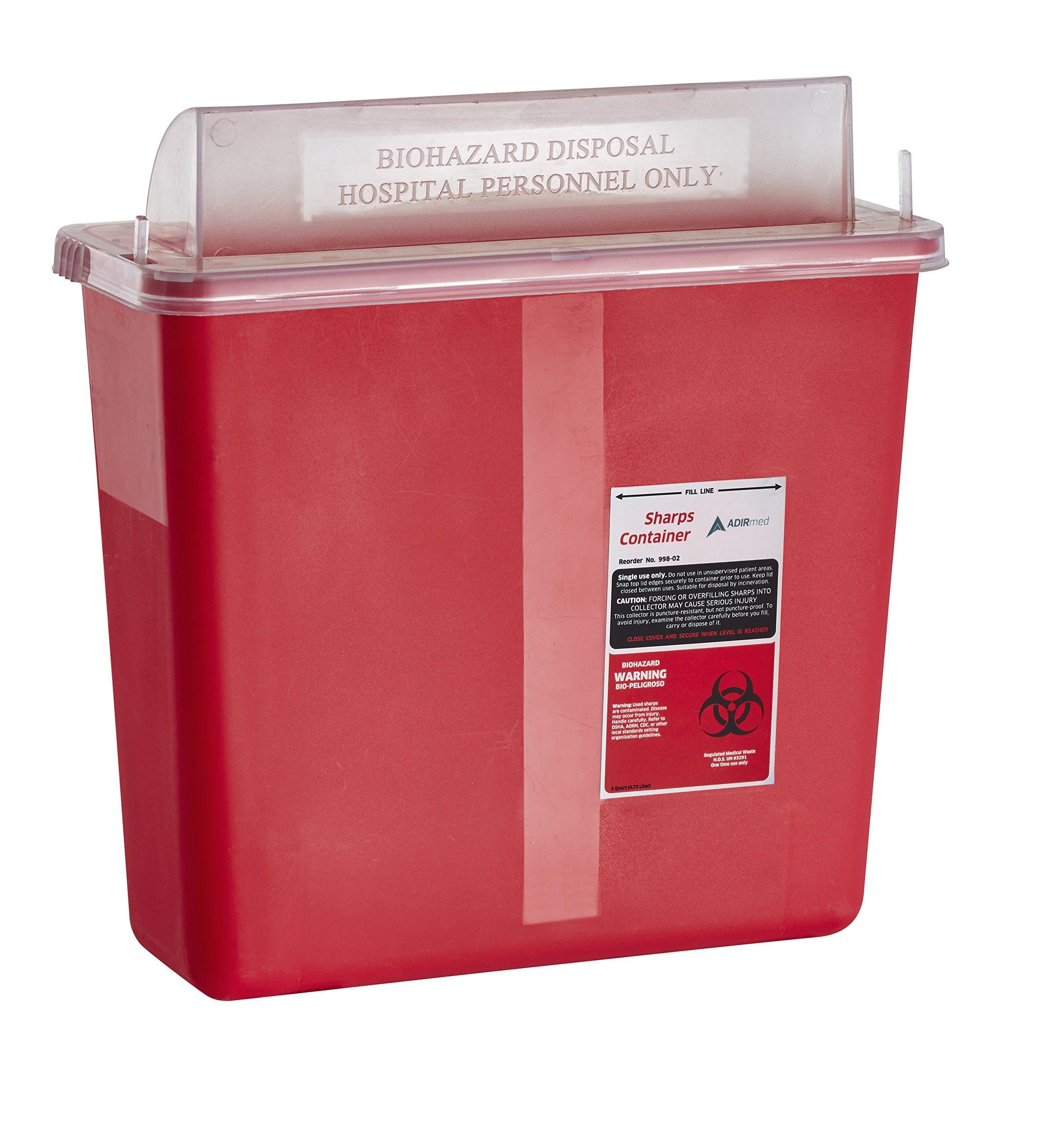 AdirMed Sharps & Needle Biohazard Disposal Container - 5 Quart - Mailbox Style Horizontal Lid - 1 Pack