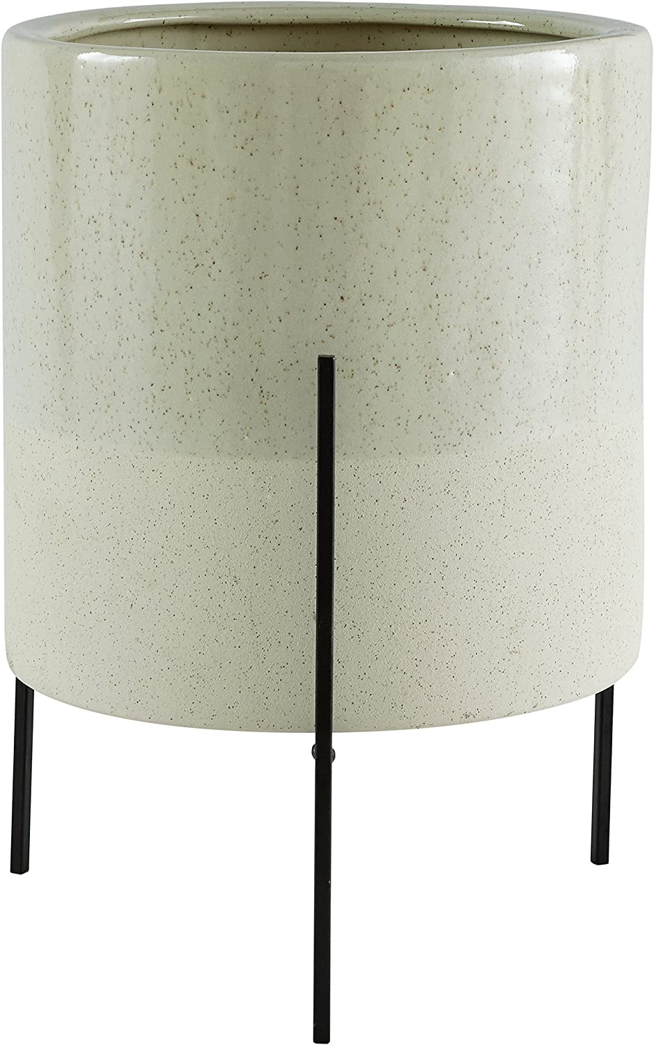 Rivet Mid-Century Ceramic Planter with Iron Stand, 17 H, Pale Green