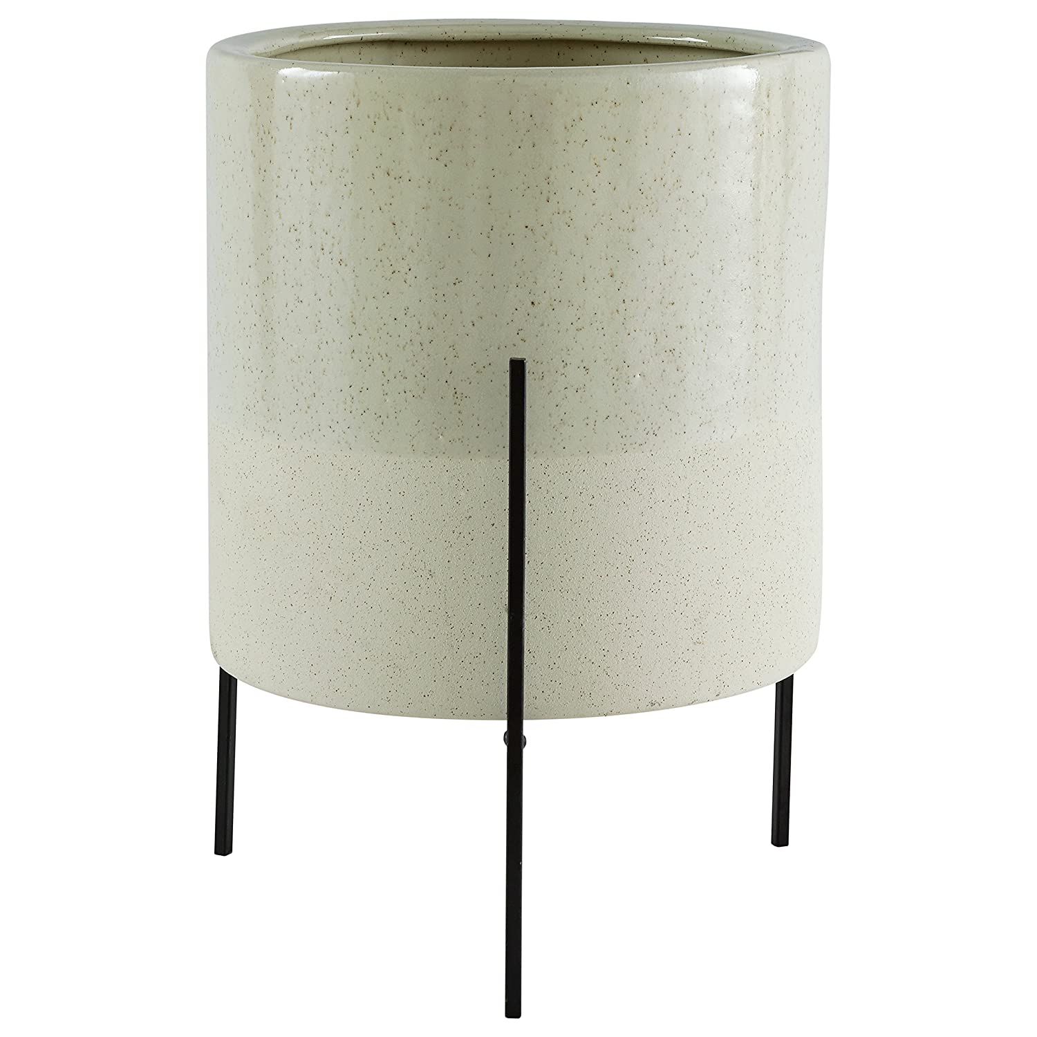 """Rivet Mid-Century Ceramic Planter with Iron Stand, 17""""H, Green"""