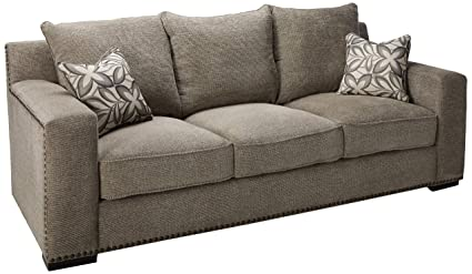 Gentil Acme Furniture ACME Ushury Gray Chenille Sofa With 2 Pillows