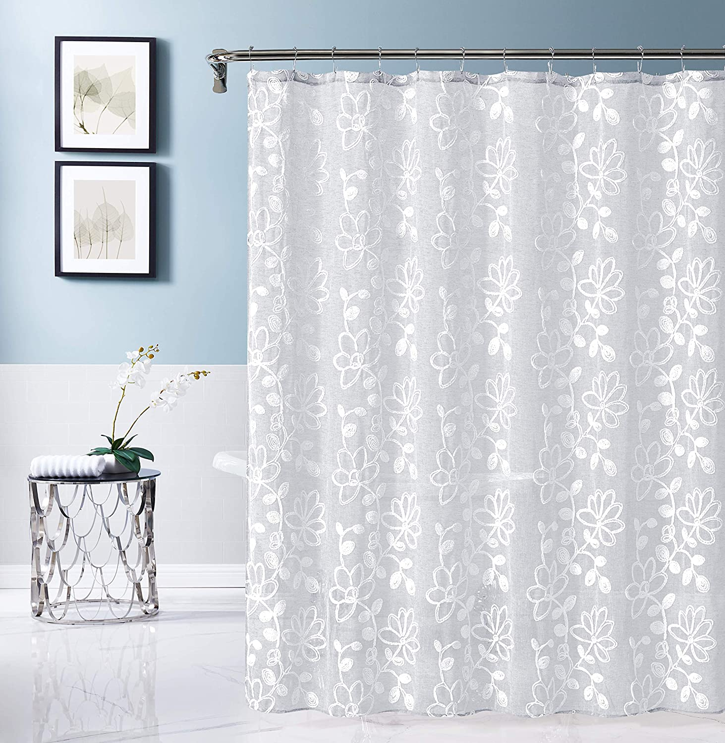 Dainty Home Rita Embroidered Fabric Shower Curtain, White/White