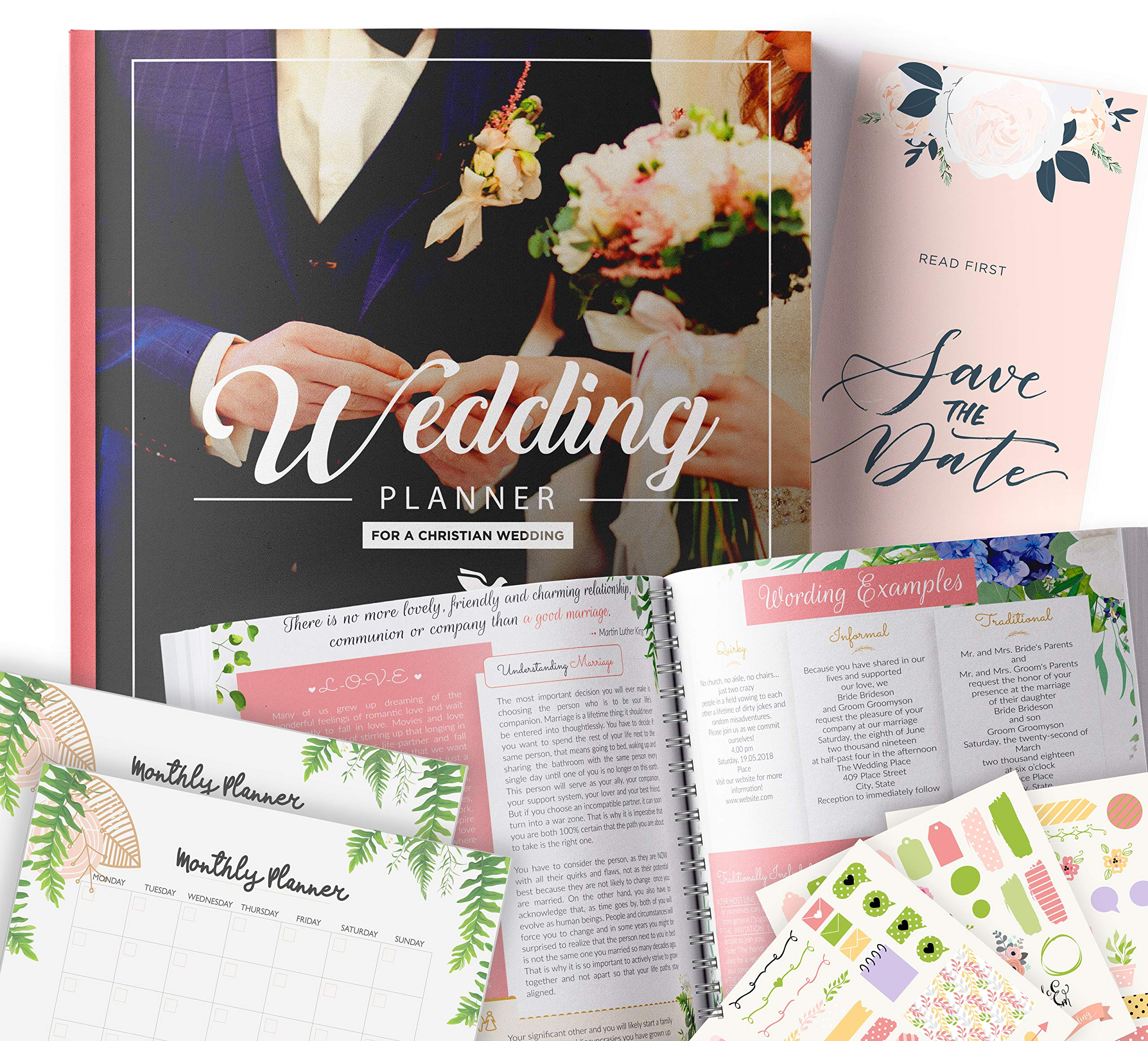 Christian Wedding Planner   Step-By-Step Binder to Organize Your Dream Day Using Stickers, Photos & Pictures   Planning Journal to Organize Your Wedding   Gift for Brides   by Floating Daydreams