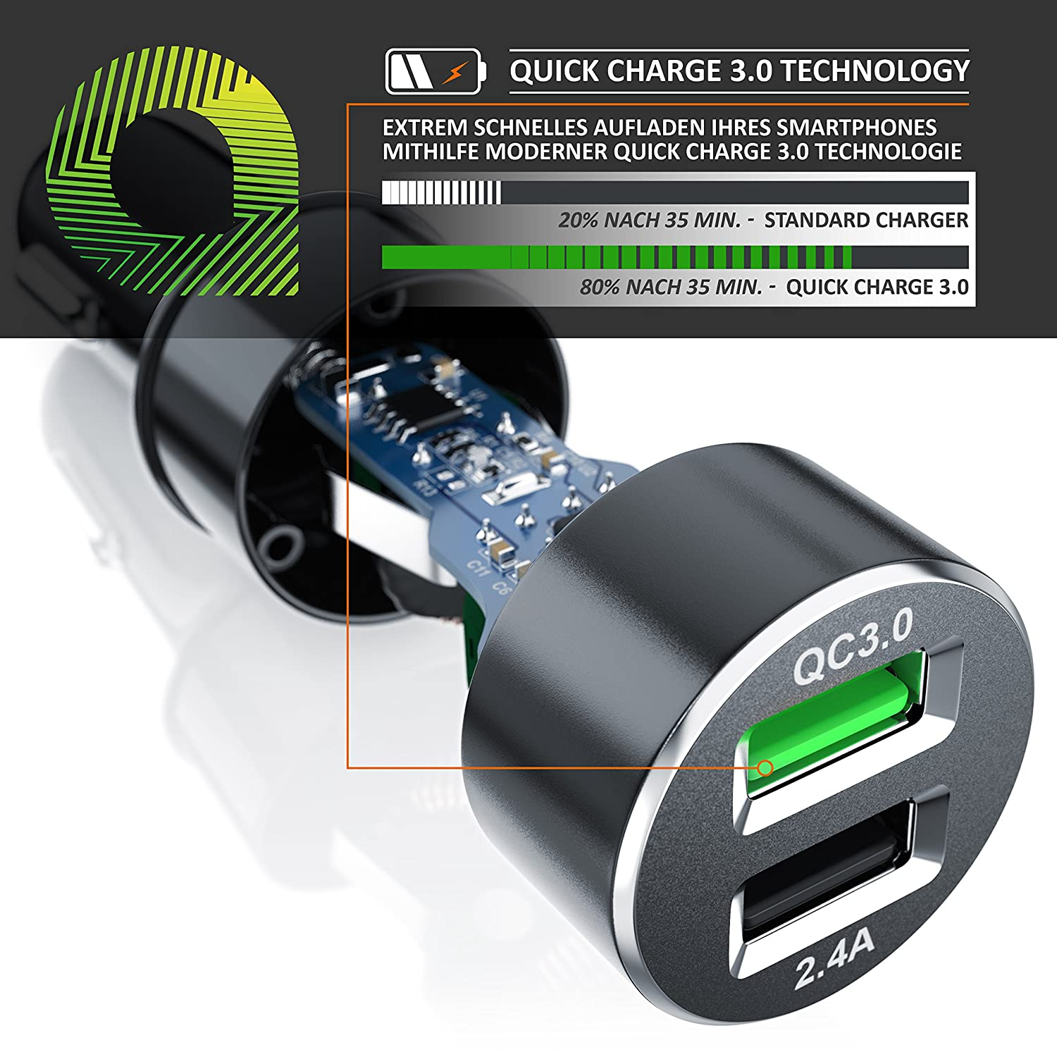 30W Kfz Ladeger/ät 12//24V CSL Auto Schnellladeadapter Zigarettenanz/ünder Car Charger Quick Charge 3.0 Dual Port USB Charger 6000mA High Power