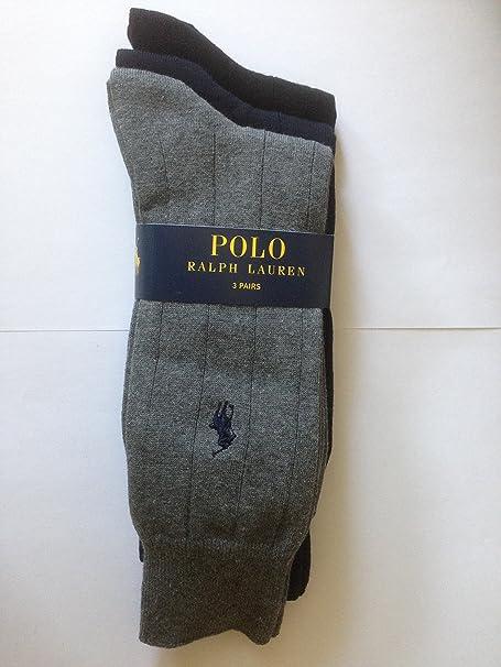 Extra anchos para hombre calcetines de Polo Ralph Lauren rib, 3 pares unidades: Amazon.es: Ropa y accesorios