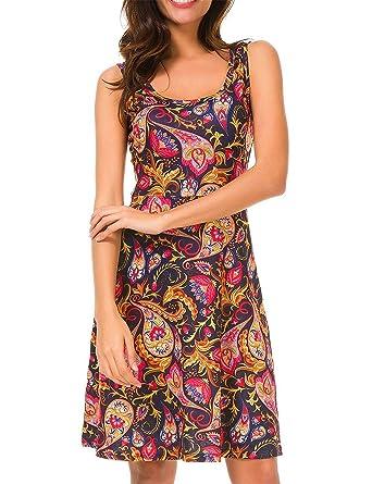 f349b0c5ce33 UGET Women Sleeveless Beach Dress Casual Flared Floral Tank Dress Asia S Red