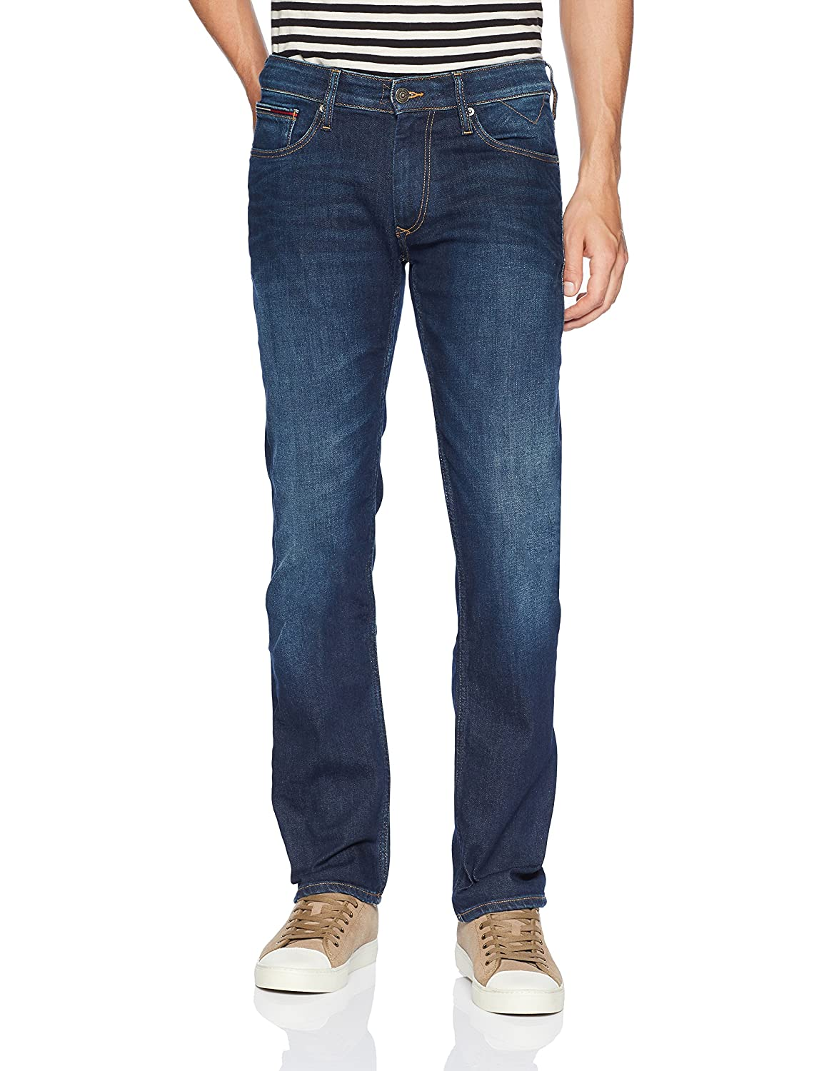 b556dbfe Tommy Hilfiger straight jeans for men featuring a straight fit and five  pocket styling. These straight fit jeans for men are tailored straight from  waist to ...