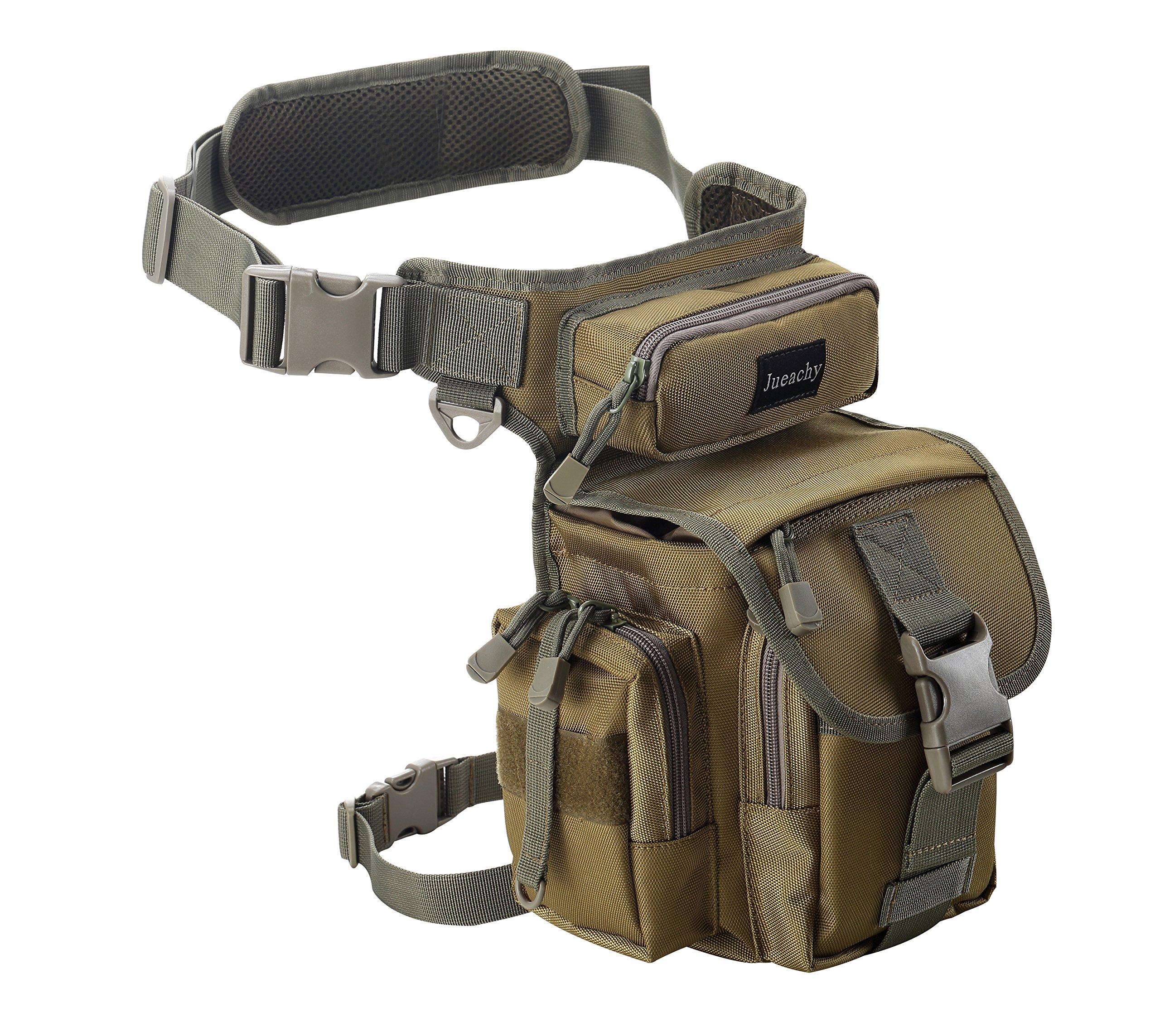 Jueachy Bolsa de Cintura Multifuncional para la Pierna, táctica, Militar, para Pesca,