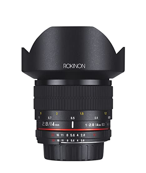 Rokinon FE14MAF-N 14mm f/2.8 IF ED UMC Ultra Wide Angle Fixed Lens with Built-in AE Chip for Nikon (Black) Camera Lenses at amazon