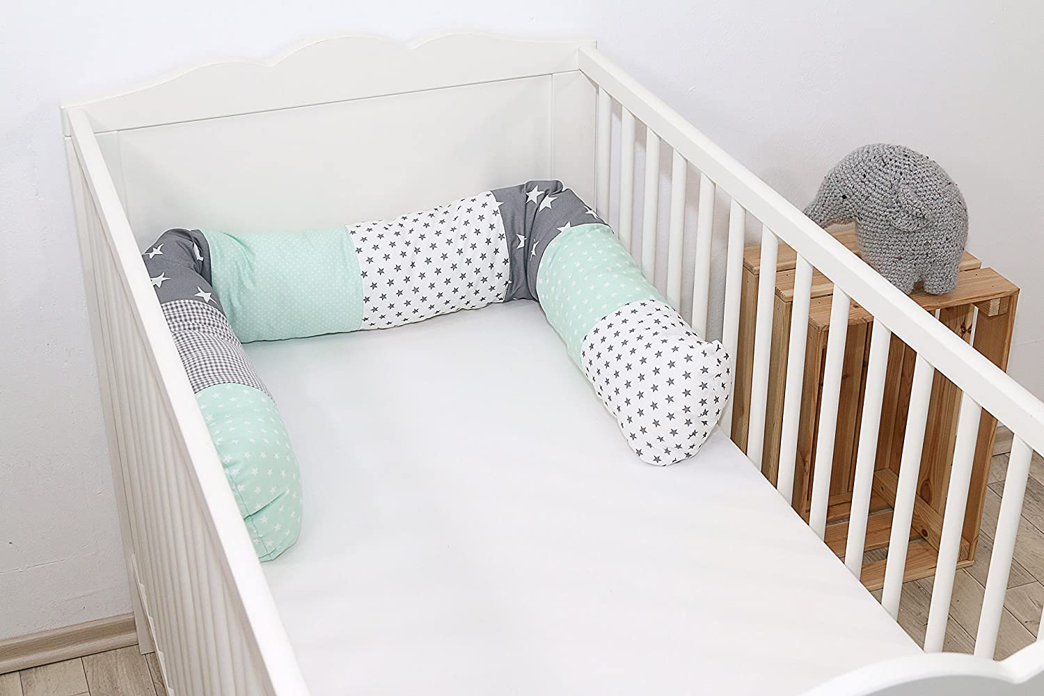 ULLENBOOM//® Bumper Snake Pillow 160x13 cm, Offers Ideal Protection from cot Edges, Support Pillow Blue Stars cot Bumper/
