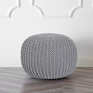 Urban Shop Round Knit Pouf, Light Grey