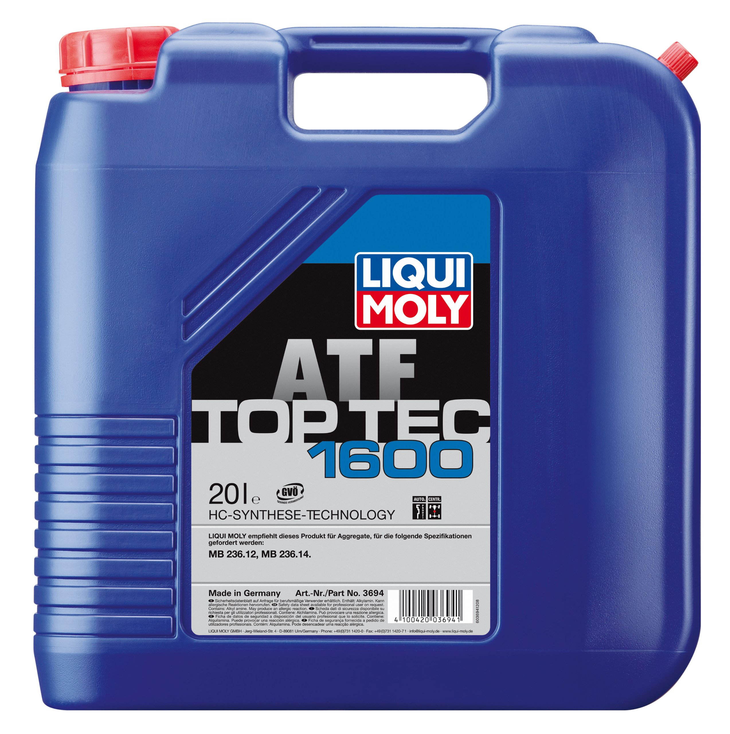 Liqui Moly 3694 Top Tec ATF 1600 Automatic Transmission Fluid - 20 Liter