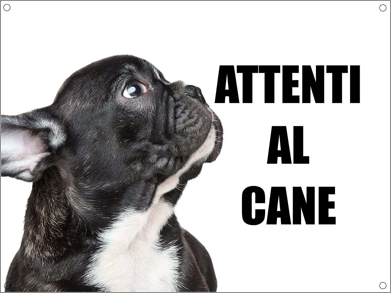 BULLDOG FRANCESE attenti al cane mod 5 TARGA cartello IN METALLO 20X30