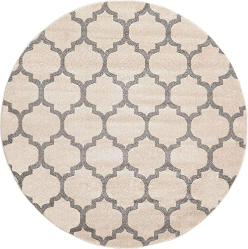 Unique Loom Trellis Collection Moroccan Lattice Beige Gray Round Rug 6 0 x 6 0