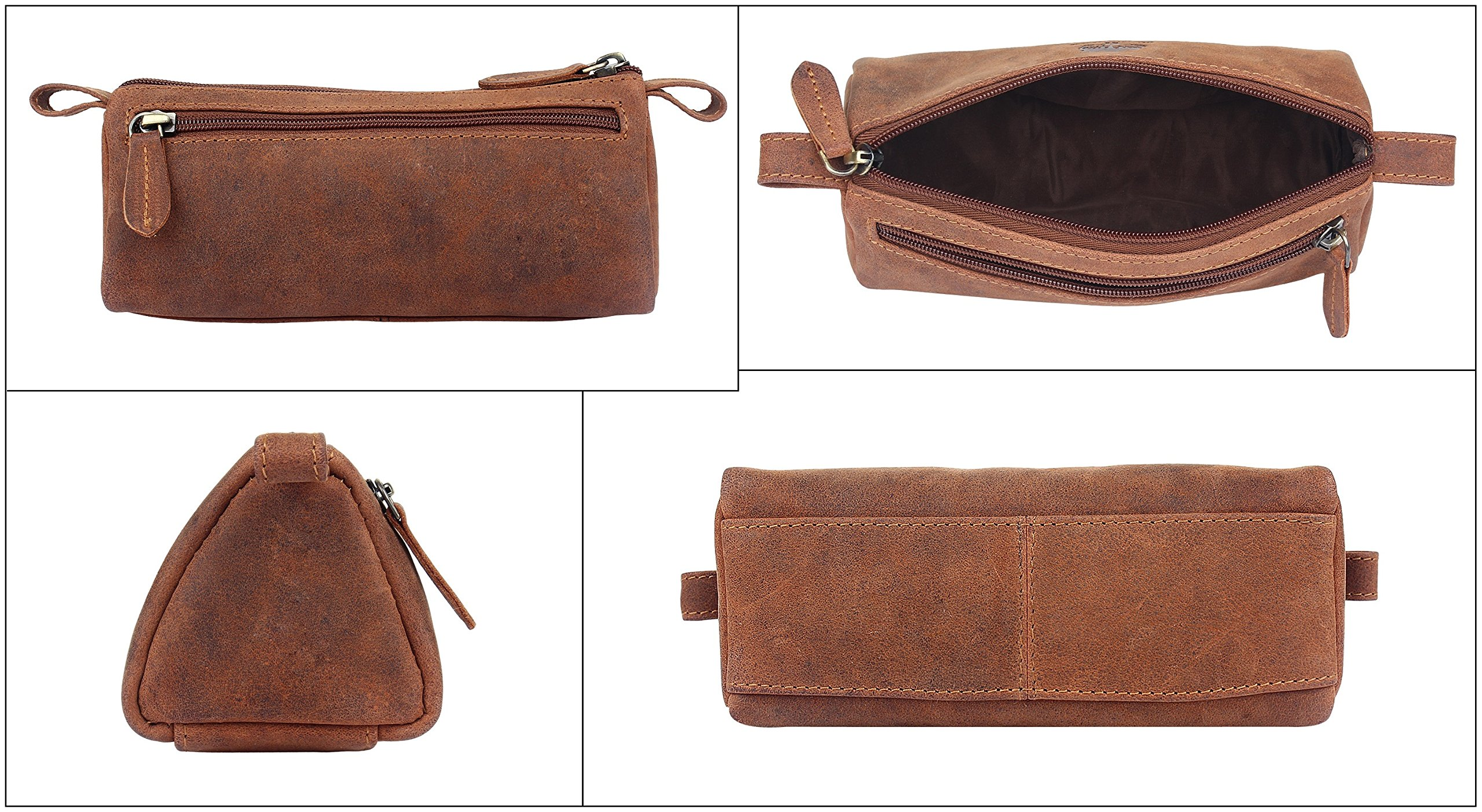 Leather Pencil Case - Zippered Pen Pouch for School, Work & Office by Rustic Town by RusticTown (Image #4)