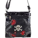 Justin West Embroidery Roses Floral Rhinestone Skull Tote Shoulder Concealed Carry Handbag Messenger Purse
