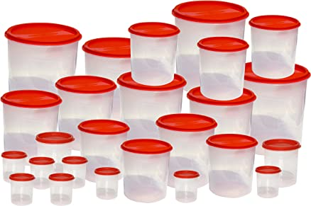 Buy Princeware 25 Pcs Kitchen Storage Container Set, Dark Red