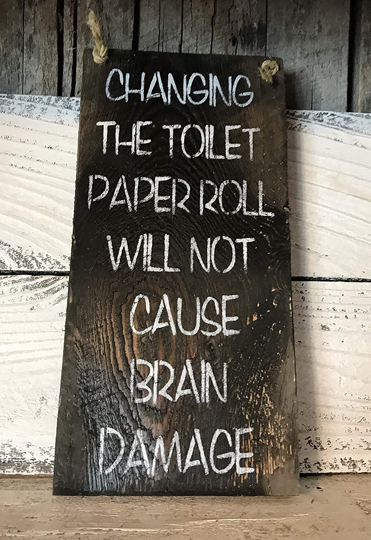 Toilet Roll Sign Metal Wall Plaque Art