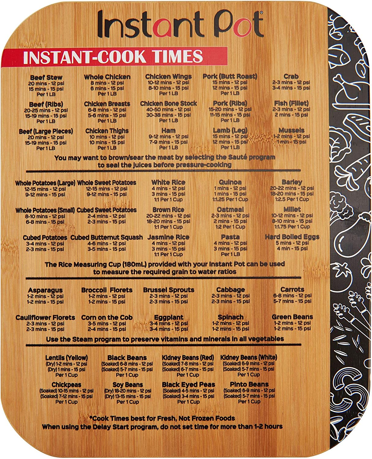 Instant Pot 5252280 Official 11x14 Bamboo Cutting Board with Cook Times, 11x14-inch, Brown