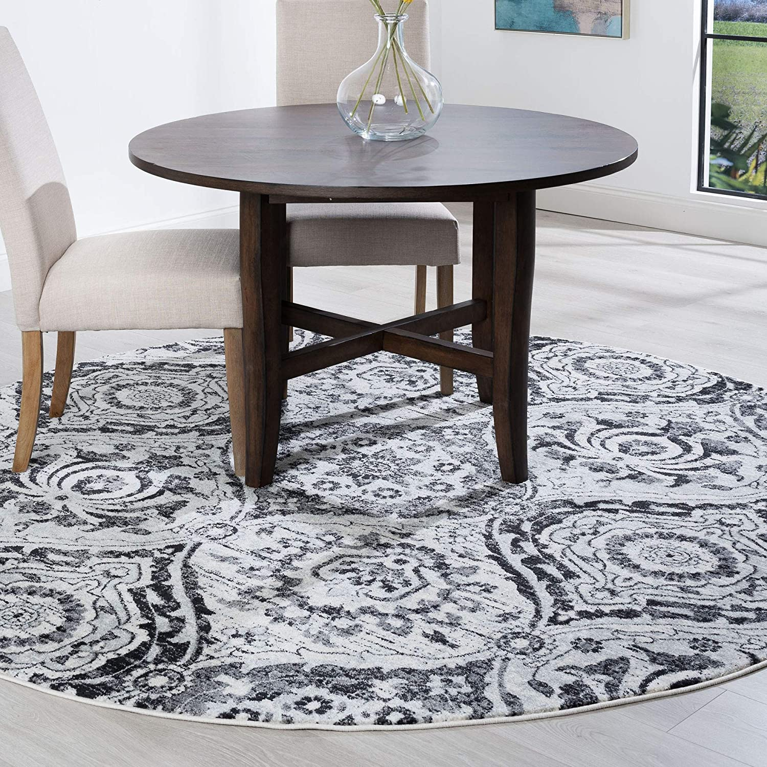 Amazon Com Tayse Beatrice Gray 6 Foot Round Area Rug For Living Bedroom Or Dining Room Boho Geometric Kitchen Dining