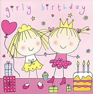 Twizler Happy Birthday Card For Girl Girly Twins With Cake Presents And Swarovski Crystal Finish