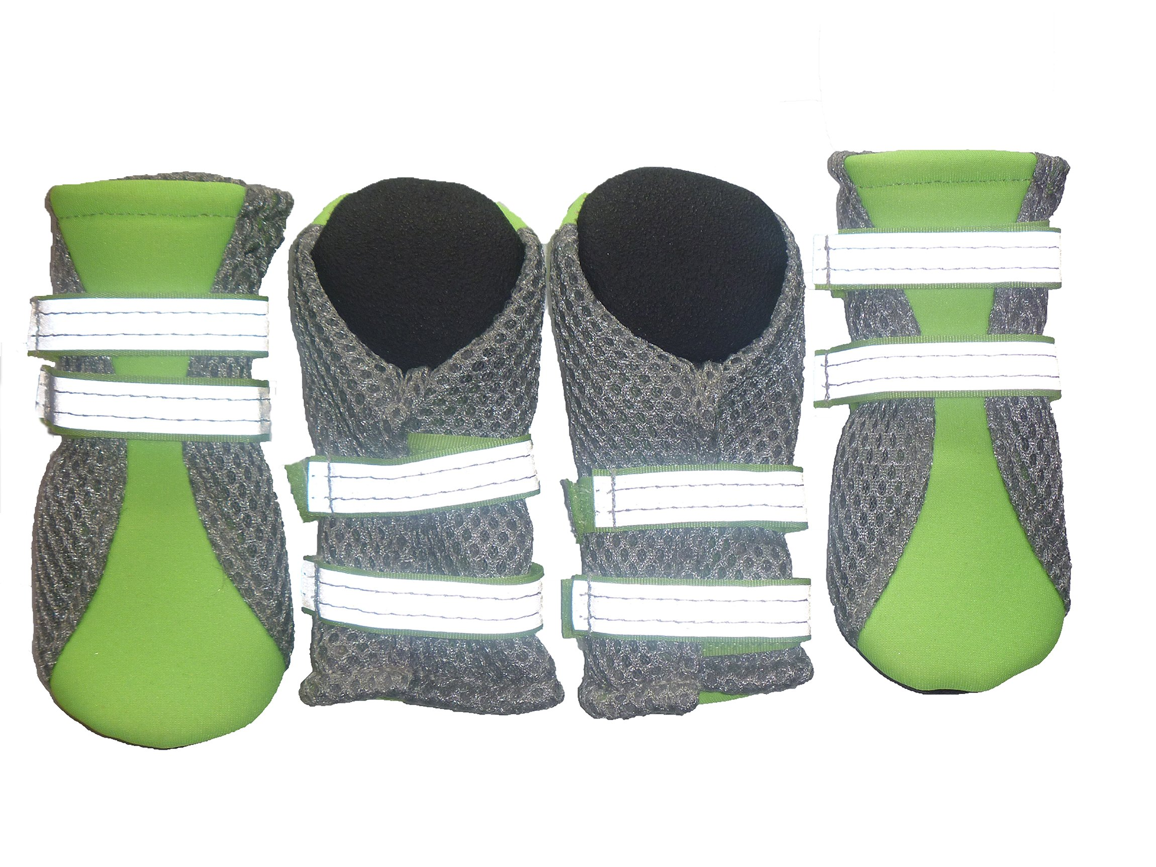 LONSUNEER Puppy Daily Soft Sole Nonslip Mesh Boots, with 2 Long and Safe Reflective Straps, Breathable and Cool, Inner Width 1.6 Inch, Set of 4, Bright Green