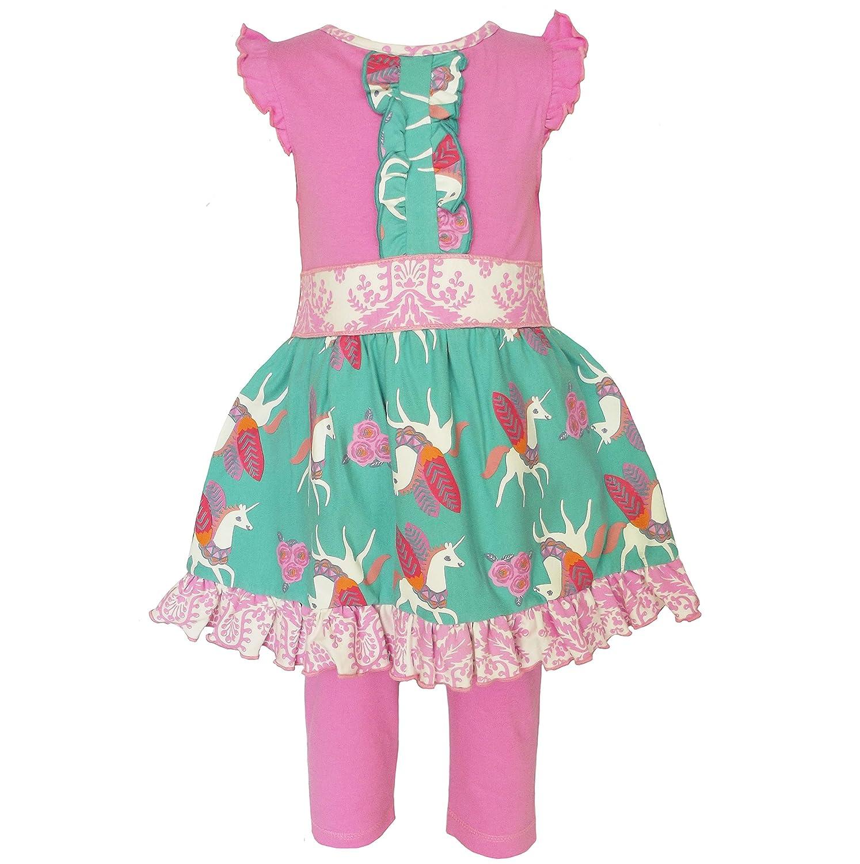 Amazon.com  AnnLoren Baby Girls Boutique Pink Unicorn Dress and Capri  Clothing Set  Clothing 9debdd02a2