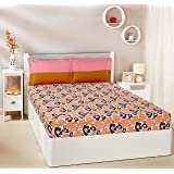 Amazon Brand - Solimo Floral Pop 144 TC 100% Cotton Double Bedsheet with 2 Pillow Covers, Pink