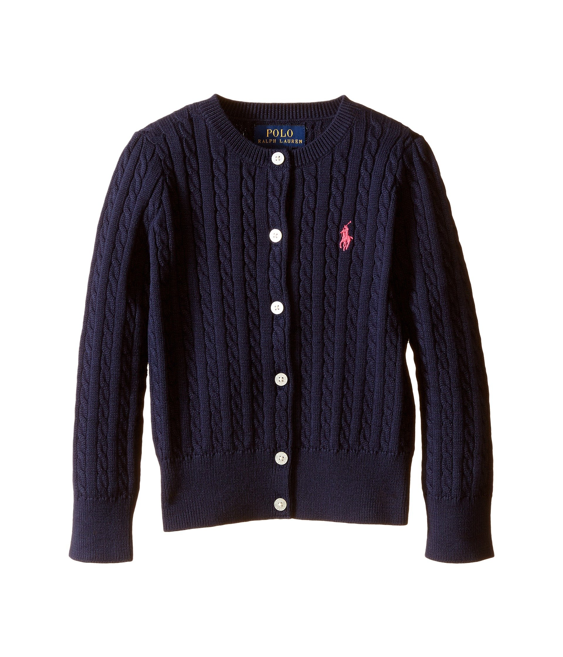 Polo Ralph Lauren Little Girl's Mini Cable Cardigan, 3T, French Navy
