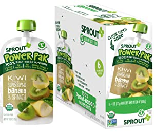 Sprout Organic Stage 4 Toddler Food Power Pak Pouches, Kiwi w/ Superblend Banana & Spinach, 4 Ounce (Pack of 12)