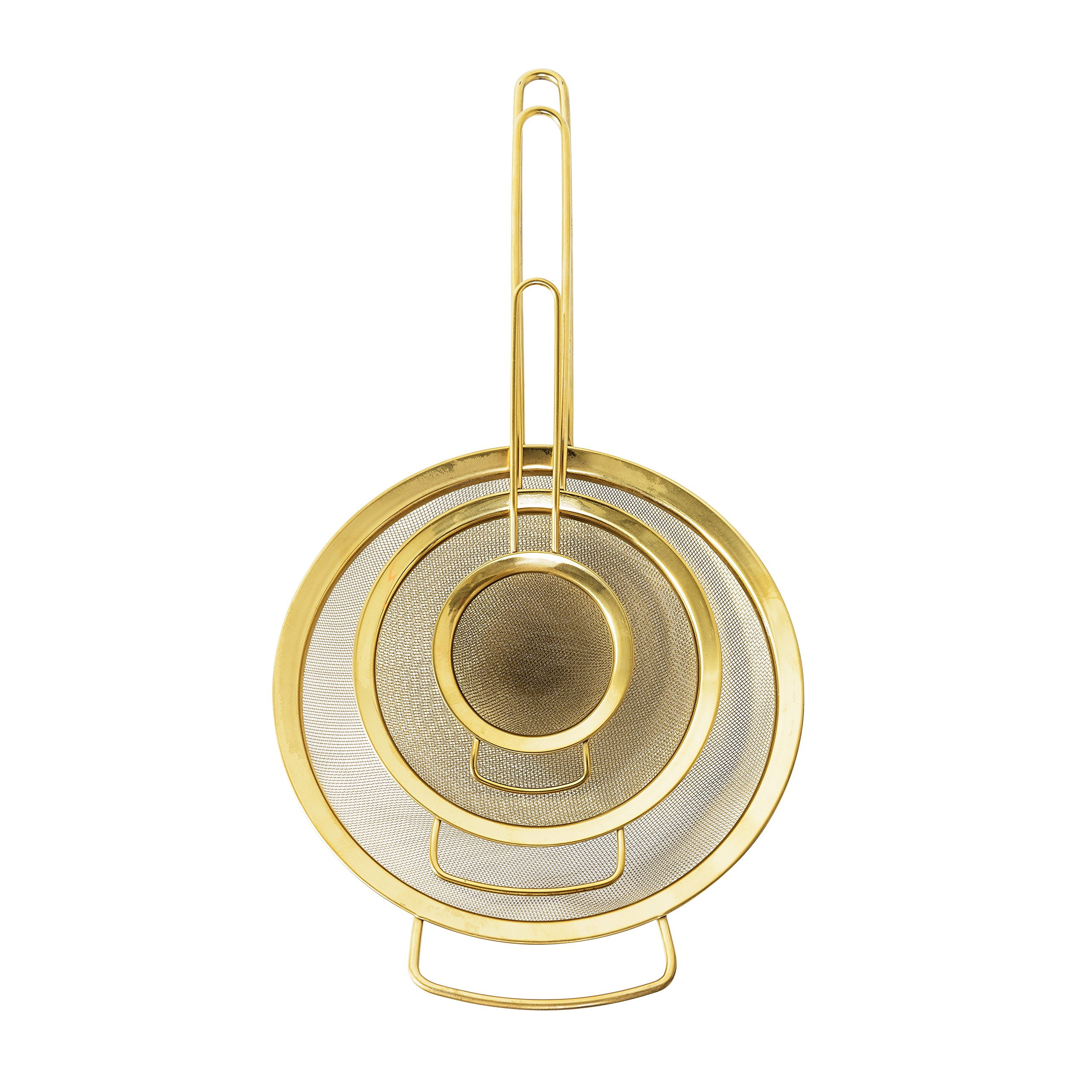 Bloomingville A21183953 Set of 3 Stainless Steel Strainers with Gold Finish