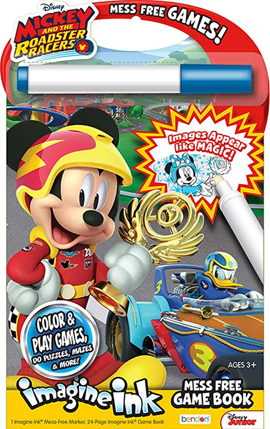Amazon Bendon 41686 Disney Imagine Ink Mess Free Game Book Mickey And Roadster Racers Toys Games