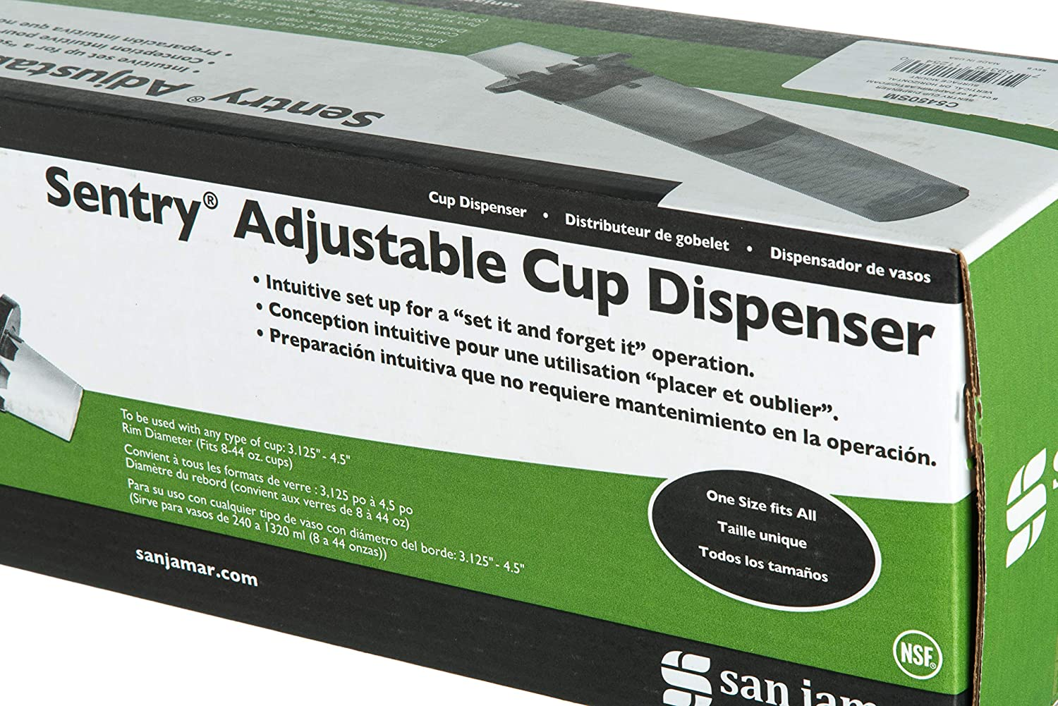 Amazon.com: San Jamar C5450SM Sentry Surface Mount Adjustable Cup Dispenser, Fits 8oz to 44oz Cup Size, 3-1/8