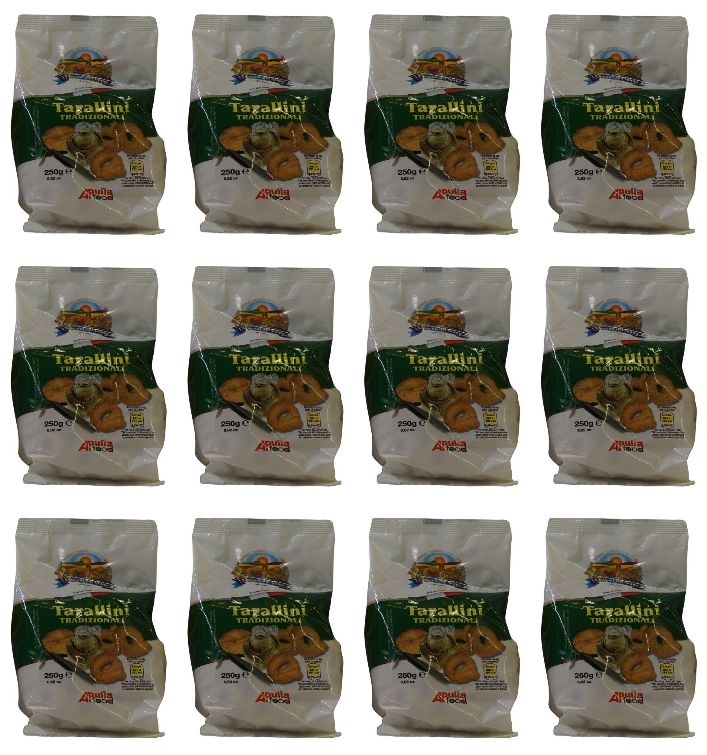 I Racconti del Grano: ''Tarallini Tradizionali '' - Traditional Taralli 8.82 Ounce (250gr) Package (Pack of 12) [ Italian Import ]
