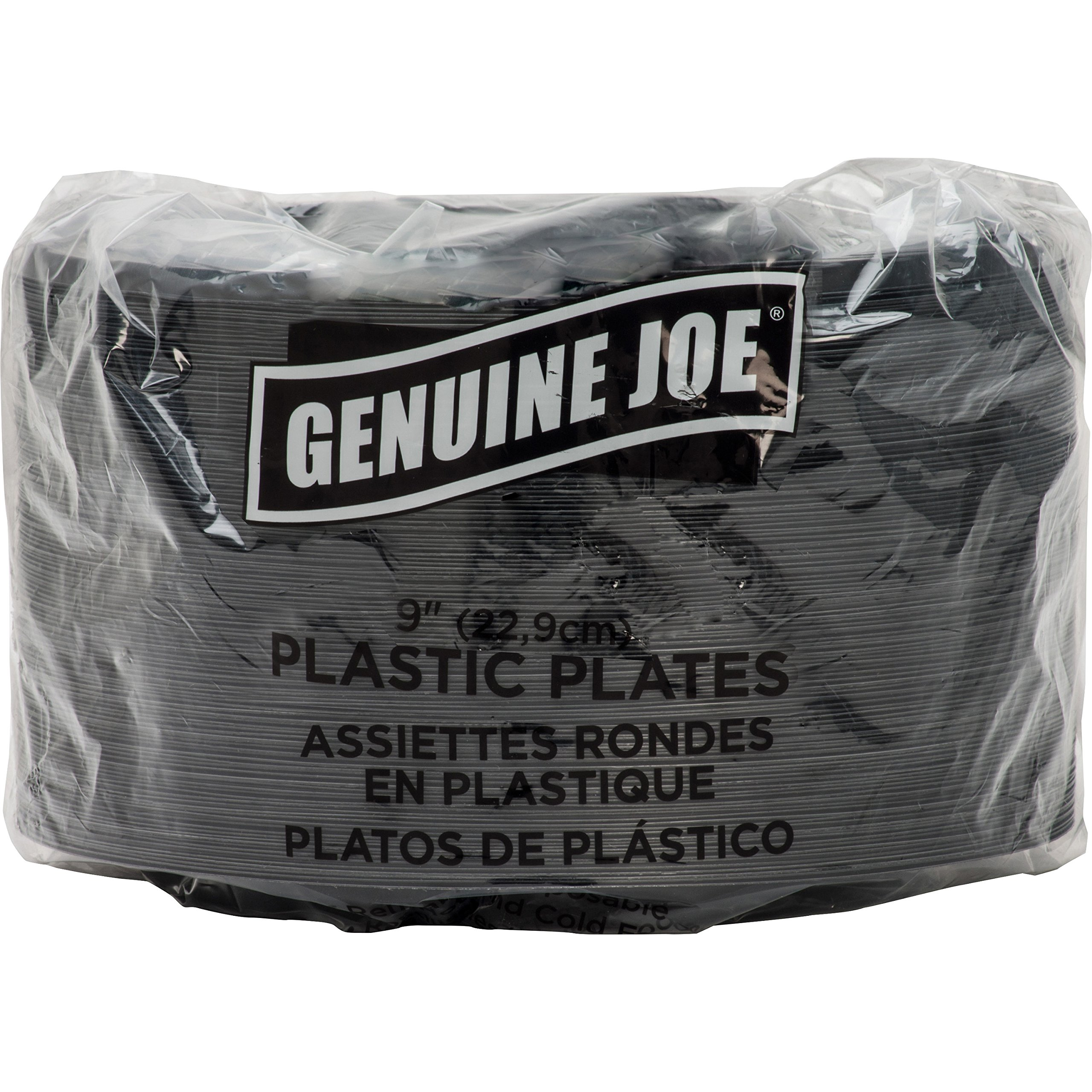 Genuine Joe GJO10429 Plastic Round Plate, 9'' Diameter, Black (Pack of 125)
