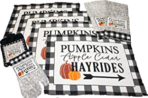 Twisted Anchor Trading Co 8 pc Fall Placemats Set - Buffalo Plaid Placemats with Apple Cider, Hayrides & Pumpkins - Tapestry Style Autumn Home Decor