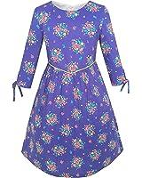 Girls Dress Purple Flower 3/4 Sleeve Princess Party Dress Age 4-12 Years