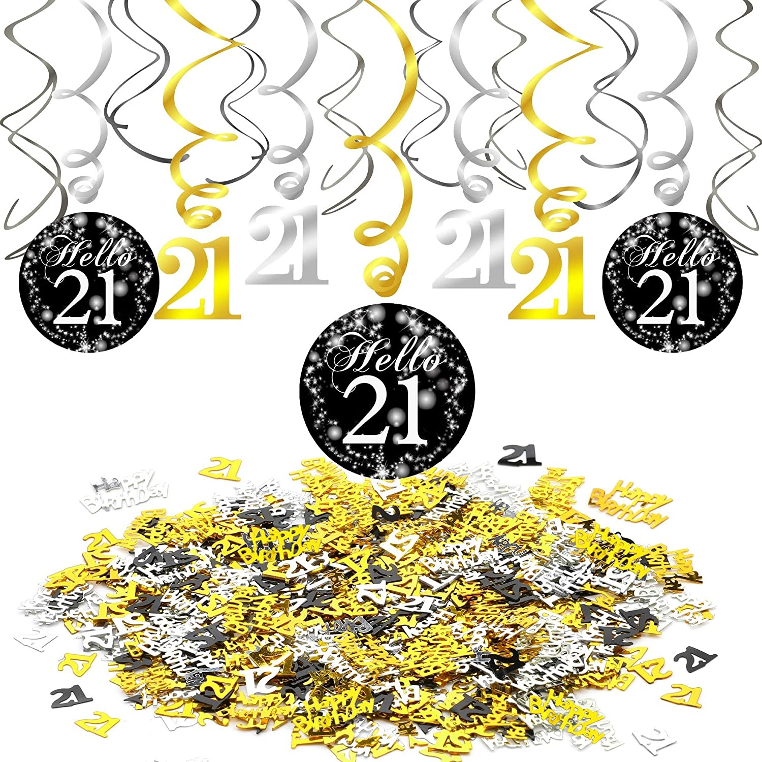 Amazon Com Konsait 21st Swirl Birthday Hanging Decorations Black And Gold 15 Counts Happy Birthday 21st Birthday Party Table Confetti 1 05oz 21st Birthday Decorations Party Supplies Gift For Her Him Toys Games,Colored Stainless Steel Tumblers