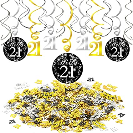 Konsait 21st Swirl Birthday Hanging Decorations Black And Gold 15 Counts Happy