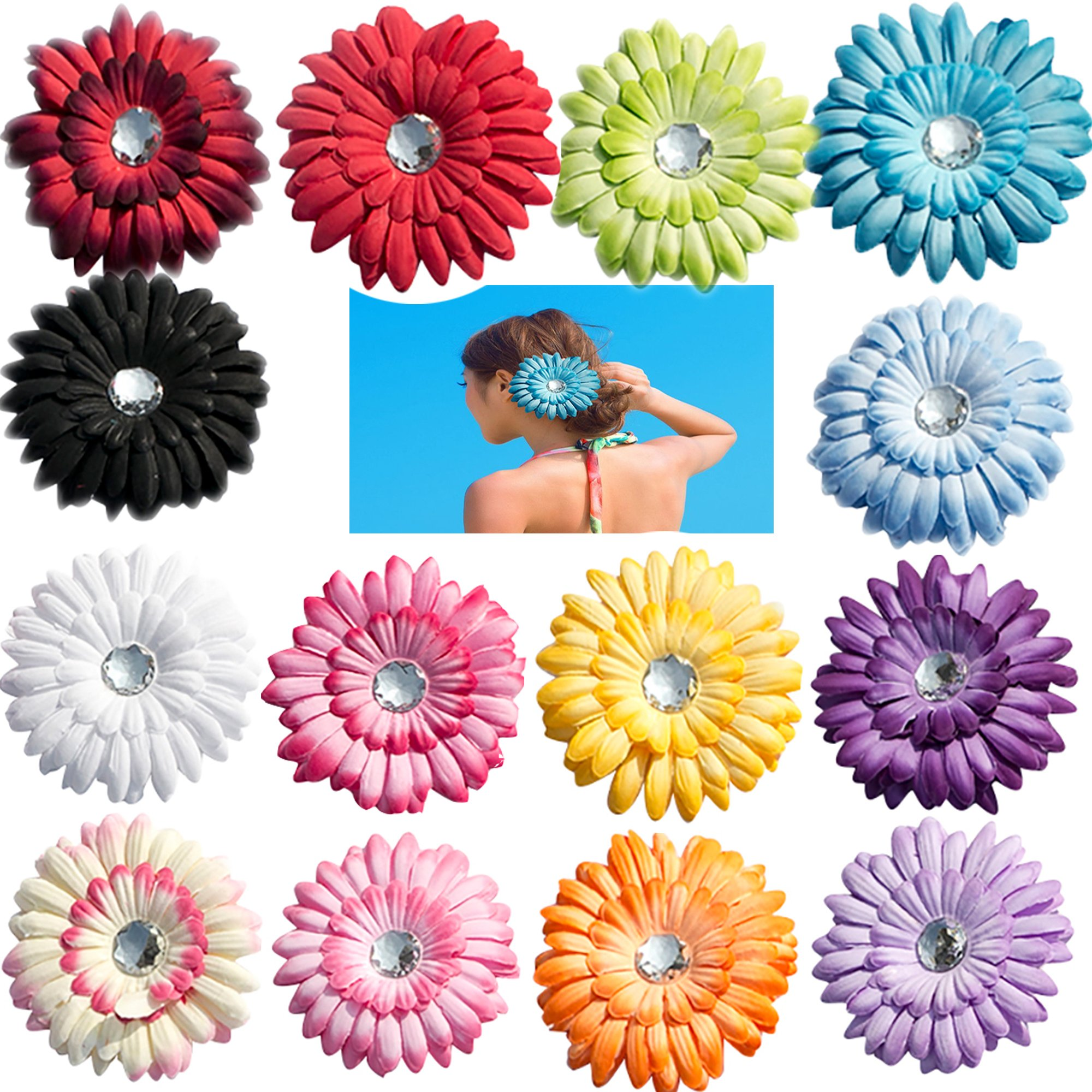Amazon mix colors 4 gerbera daisy flower clip baby girl 14 pcs big boutique 4 gerbera daisy flowers alligator clips hairpins for girls children kids izmirmasajfo
