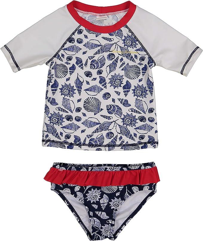 Navy Pink 12 Months Tommy Bahama Baby Girls 2-Piece Shirt and Bikini Bottom Swim Set