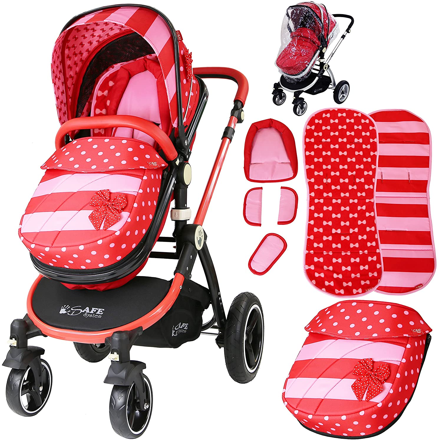 iSafe Baby Pram System 2in1 - Bow Dots is2in1Bow