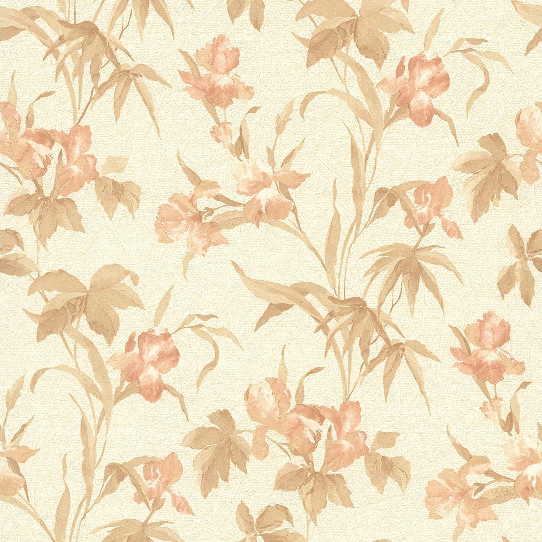 Brewster 414 65779 Iris Peach Iris Floral Wallpaper Peach