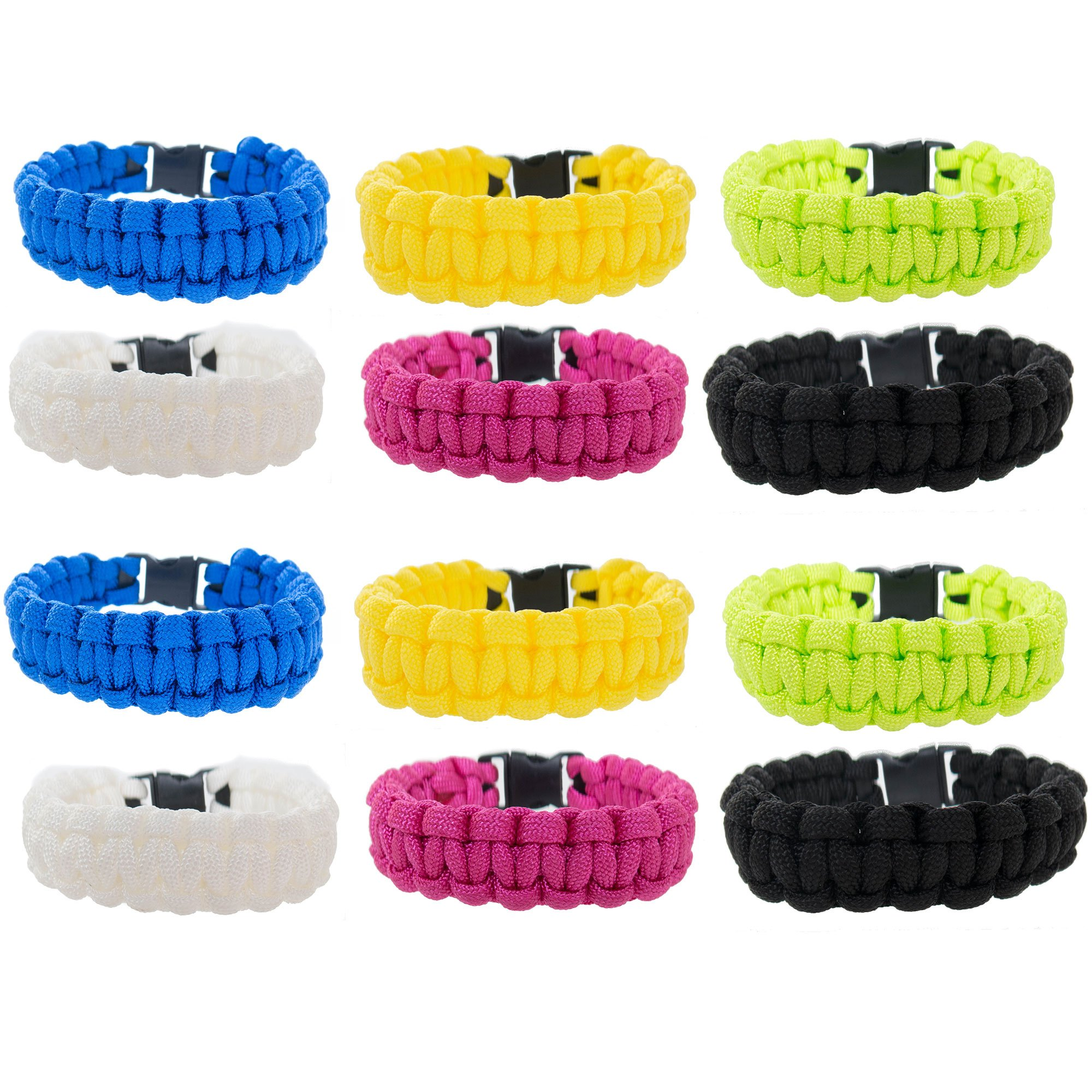 FROG SAC Paracord Bracelets for Men, Boys, Kids 12 PCs - Survival Tactical Bracelet Braided with 550 lbs Parachute Cord - Camping Gifts, Scouts Accessories - Great Birthday Party Favors (Solid)
