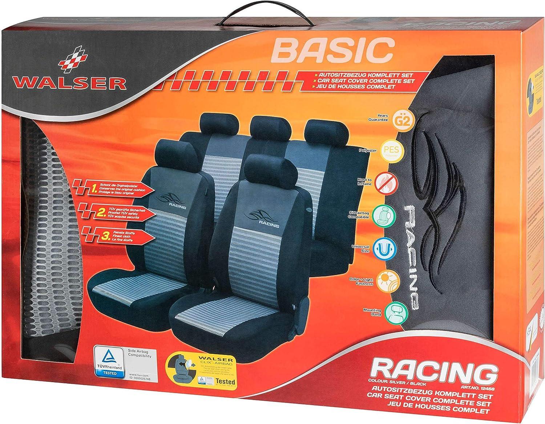 schwarz Walser 12468 Autositzbezug Racing Komplett-Set silber