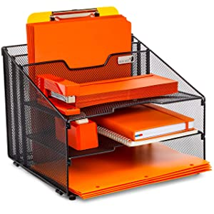 Desk Organizer File Folder Holder All-in-One With Non-Slip Rubber Feet by Desk Wiz | Black Metal Mesh Office Desktop Supplies Accessories Organizer | Includes 3 Sticky Note Pads and 3 File Folders