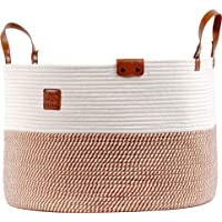"""Cotton Rope Basket XXXLarge - 21.7""""x21.7""""x13.8"""" Woven Fabric Laundry Basket for Blankets Kids Toys Storage Baskets with…"""