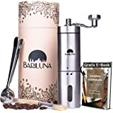 BARILUNA® kaffekvarn manuellt i rostfritt stål, handkaffekvarn med exakt keramikmalverk – justerbar, med praktiska…
